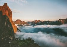 Landscape Segla Mountain over clouds and fjord royalty free stock photography
