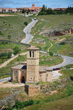 Landscape of Segovia, Spain with old church Stock Image