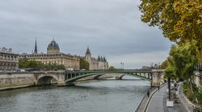 Landscape of Seine River with old bridges royalty free stock images