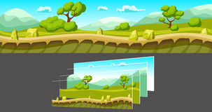 Landscape With Separated Layers For Game. Cartoon summer landscape with trees and mountains and separated layers for game on grey background vector illustration stock illustration