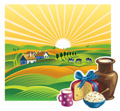 Landscape with a set of dairy products Royalty Free Stock Photo