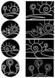 Landscape set. Line art black and white landscape set Royalty Free Stock Photos