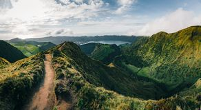 Landscape of Sete Cidades from Mirador da Boca do Inferno at sunset with lagoa de Santiago, Sao Miguel, Azores Islands