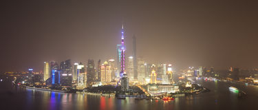 Landscape of Shanghai city in night Royalty Free Stock Image