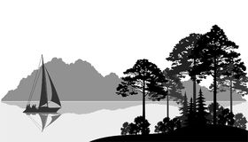 Landscape with Ship on Lake. Landscape with Sailboat on a Mountain Lake, Fir Trees, Pines and Bushes, Black and Grey Silhouettes. Vector Stock Photo