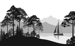 Landscape with Ship on Lake. Landscape with Sailboat on a Mountain Lake, Fir Trees, Pines and Bushes, Black and Grey Silhouettes. Vector Royalty Free Stock Photos