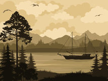 Landscape with Ship on Mountain Lake and Trees. Landscape with Ship Sailboat on a Mountain Lake, Spruce Trees, Pine and Bushes, Birds in the Sky and Clouds Stock Images