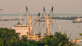 Landscape of ship port in evening time royalty free stock image