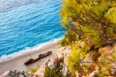 Landscape of shipwreck beach Royalty Free Stock Photo