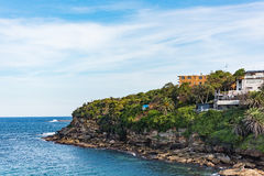 Landscape of the shore along the Bondi to Coogee coastal walk in Sydney, Australia. A cliff top coastal walk featuring stunning views, beaches, parks, cliffs Royalty Free Stock Image