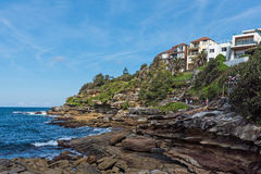 Landscape of the shore along the Bondi to Coogee coastal walk in Sydney, Australia. A cliff top coastal walk featuring stunning views, beaches, parks, cliffs Stock Images