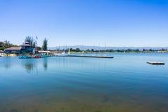 Landscape in Shoreline Park & Lake, Mountain View, San Francisco bay area, California stock photo