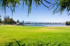 Landscape in Shoreline Park & Lake, Mountain View, San Francisco bay area, California stock photos