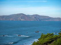 Cliff side with clear skies overlooking Marin bay area. Landscape shot cliff side with clear skies overlooking Marin bay area Royalty Free Stock Image