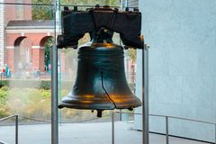 Landscape shot of the Liberty bell. While on a tour stock image