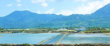 Landscape with shrimp feeding farms in Vietnam Stock Photo