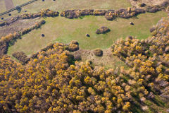 Landscape of Siberia. Aerial view of landscape of vast plains and forest in Siberia, Russian Federation Royalty Free Stock Photos