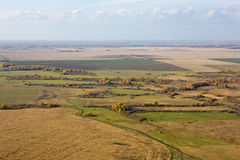 Landscape of Siberia. Aerial view of landscape of vast plains and forest in Siberia, Russian Federation Stock Images