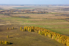 Landscape of Siberia. Aerial view of landscape of vast plains and forest in Siberia, Russian Federation Royalty Free Stock Image