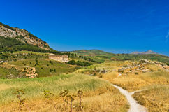 Landscape of Sicily with old greek temple at Segesta Stock Photo