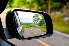 Landscape in the sideview mirror Royalty Free Stock Image