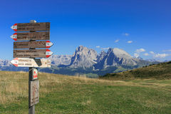 Landscape and signpost at Seiser Alm in the Italian region of South Tyrol Royalty Free Stock Image