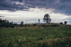 Landscape in Silesia region. Meadow with hunting tower in Polish Jurassic Highland, Silesia region in Poland stock images