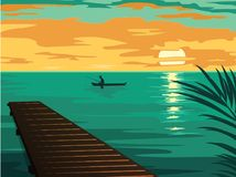 Landscape with the silhouette of fishermen in a boat at sunset stock illustration