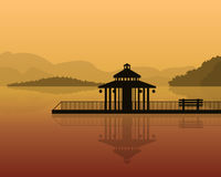 Landscape - silhouette of a house on a background of mountains, sky with reflection in water. vector illustration