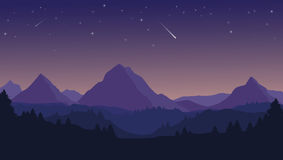Landscape with silhouettes of blue mountains, hills and forest a. Nd night sky with stars vector illustration