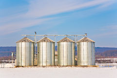 Landscape with silo and snow white Royalty Free Stock Photography