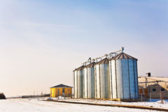 Landscape with silo and snow white Royalty Free Stock Photos