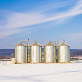 Landscape with silo and snow white Stock Photos
