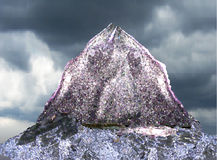 Landscape with silver lone mountain and lake in th. Abstract landscape of polygons with lone mountain Royalty Free Stock Photography