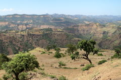 Landscape of the Simien mountains in Ethiopia stock photography