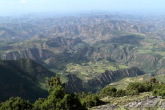 Landscape of the Simien mountains in Ethiopia royalty free stock photo