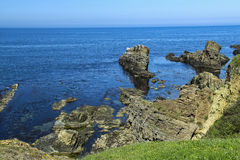 Landscape from Sinemorets - the Ships. A beautiful rock formation called the ships from the Bulgarian village called Sinemorets Royalty Free Stock Image