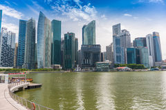 Landscape of Singapore city financial district Royalty Free Stock Image