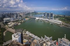 Landscape of Singapore city and harbor Stock Photo