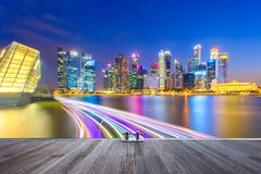 Landscape of the Singapore financial district and business building with speed light on the river royalty free stock photos