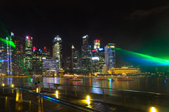 Landscape of the Singapore Marina Bay financial district at night Royalty Free Stock Image