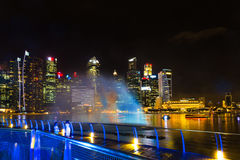 Landscape of the Singapore Marina Bay hotel, bridge, museum and Royalty Free Stock Photography
