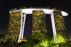 Landscape of the Singapore Marina Bay hotel, bridge, museum and Royalty Free Stock Photo
