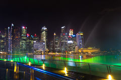 Landscape of the Singapore Marina Bay hotel, bridge, museum and Royalty Free Stock Image