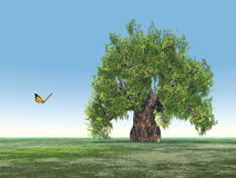 Landscape with single tree and butterfly Stock Image
