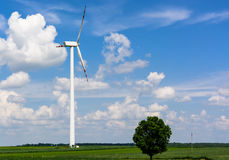 Landscape with single wind turbine. Single wind turbine in the field in Lublin region Poland Royalty Free Stock Images