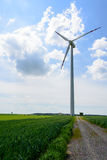 Landscape with single wind turbine Royalty Free Stock Photo