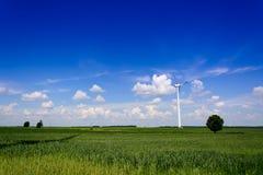 Landscape with single wind turbine Stock Photo