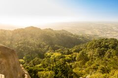 Landscape of the Sintra Mountains, backlight. Portugal