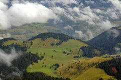 Summer mountain landscape, Sirnea - landmark attraction in Romania Stock Image